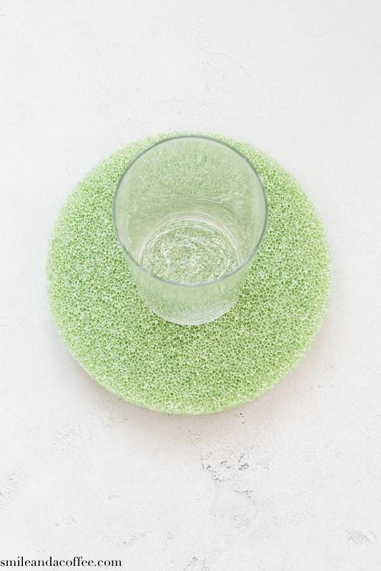 DIY fall centerpiece. Glass vase glued on top of foam base