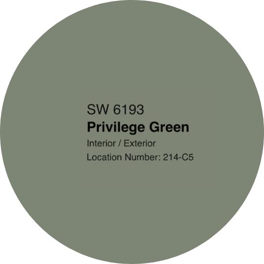 Sherwin Williams Privilege Green paint swatch