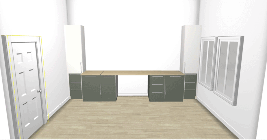 3d design of a home office with white and green cabinets