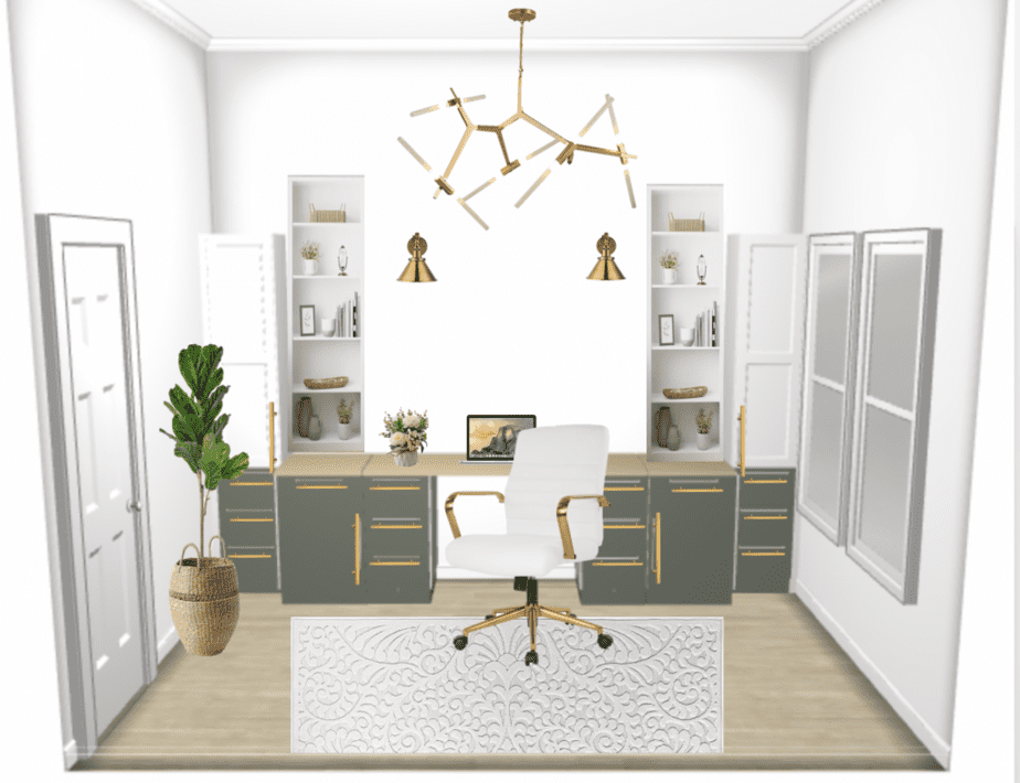 3d design of a home office with white and green cabinets and carpet, chandelier, scones, office chair, laptop and open shelving