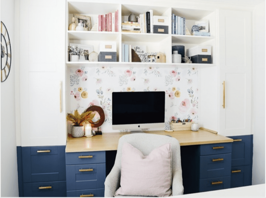 Inspiration image of Home Office with white and blue cabinets and floral wall paper and has a built-in desk